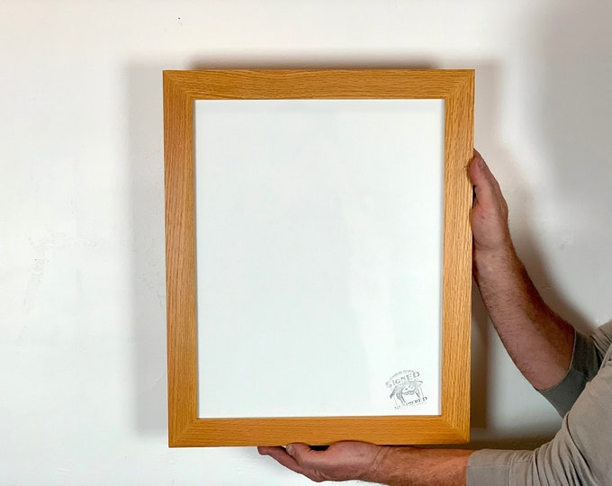 """13.5x17.25"""" Picture Frame - SHIPS TODAY - 1.5 Standard Style with Solid Honey Dye on Oak Finish - In Stock - 13.5 x 17.25 inch Yellow Frame"""