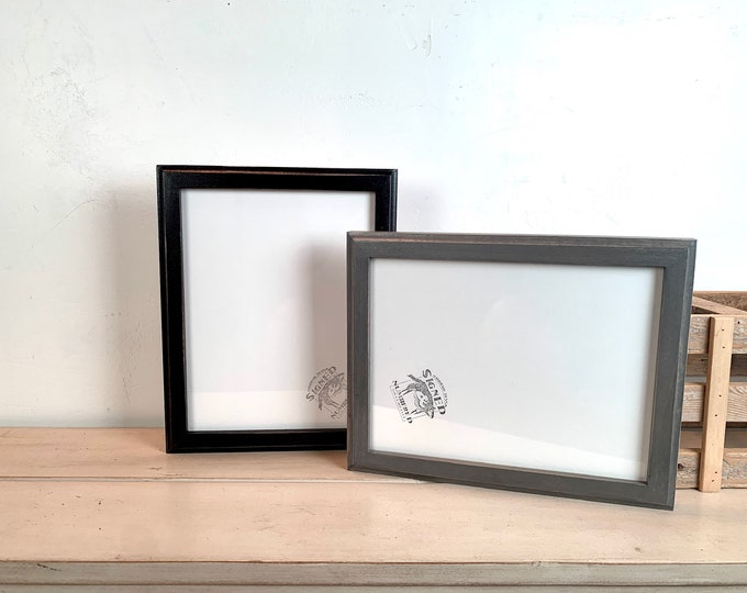 """8.5x11"""" Picture Frame - BEST SELLER - 1x1 Outside Cove Style with Vintage Black or Gray Wash Finish - In Stock - 8.5 x 11 inch Photo Frames"""