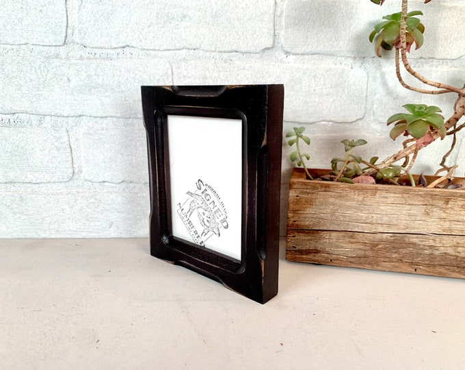 """3.75 x 4.75"""" Wallet Photo Picture Frame - SHIPS TODAY - 1x1 Shallow Bones Style with Vintage Black Finish - In Stock - Odd Size Frame"""