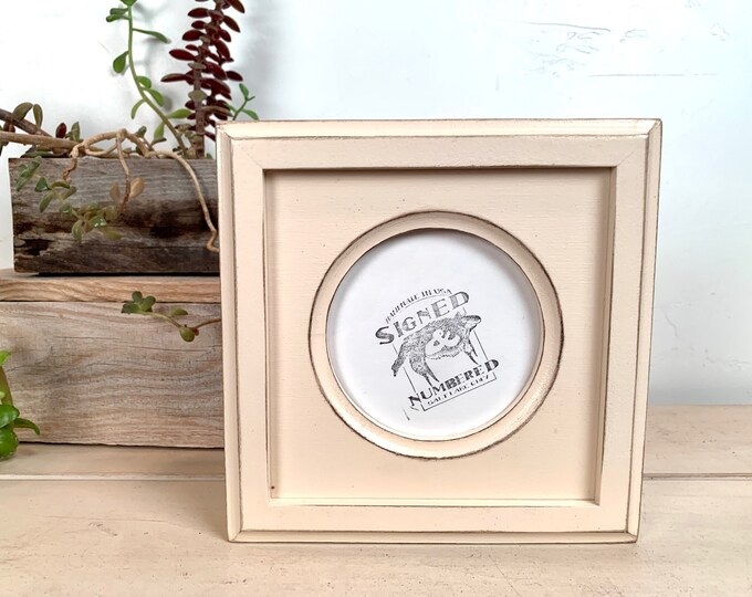4x4 Circle Frame - SHIPS TODAY - Vintage Ivory Finish Outside Cove Build up Edge Circle Opening Frame - In Stock - 4 x 4 Round