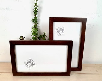 """7x12"""" Panoramic Picture Frame - SHIPS TODAY - 1x1 Flat Style with Vintage Dark Wood Tone Finish - In Stock - 7 x 12 inch Picture Frames"""
