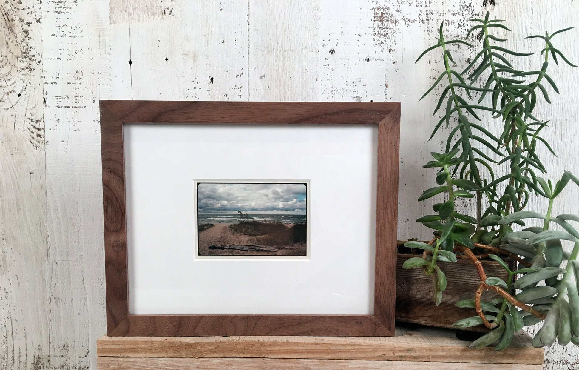 7x9 Picture Frame In Solid Natural Walnut Peewee Style In Stock
