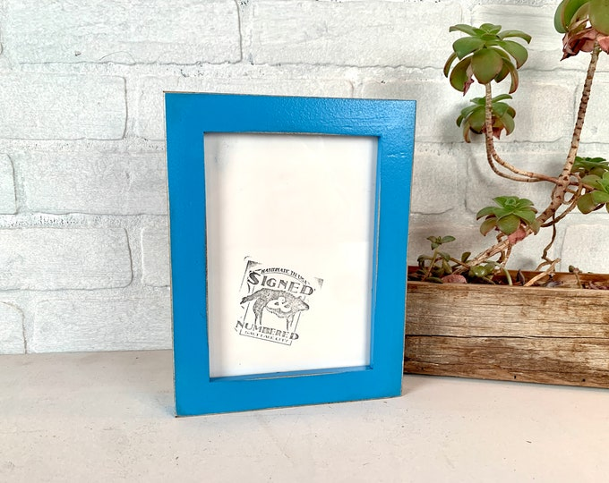 5x7 Picture Frame -SHIPS TODAY - 1x1 Flat Style with Vintage Cobalt Blue Finish - In Stock - mid century decor 5 x 7 Photo Frame Blue