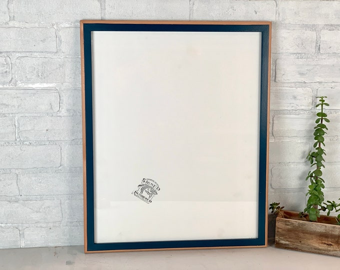 """16x20"""" Picture Frame - SHIPS TODAY - 1x1 2-Tone Style on Alder with Solid Navy Blue Finish - In Stock - 16 x 20 inch Photo Frame"""