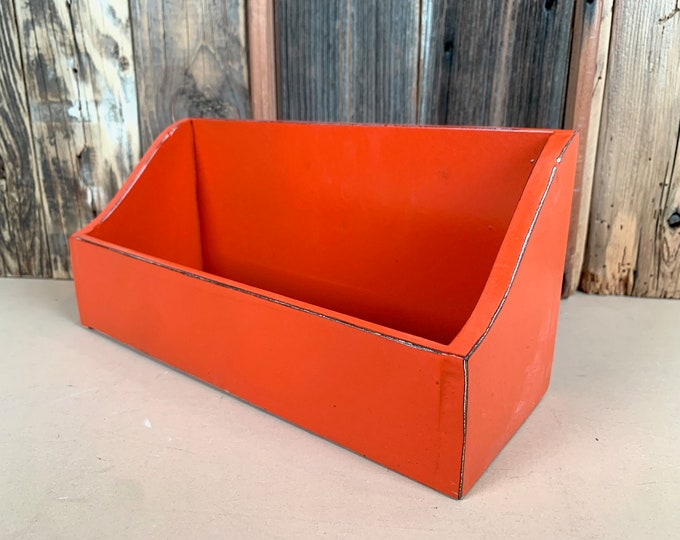 Personalized Desktop Letter / Mail / Organizer Box with Vintage Deep Orange Finish built from solid poplar hardwood - SHIPS RIGHT AWAY