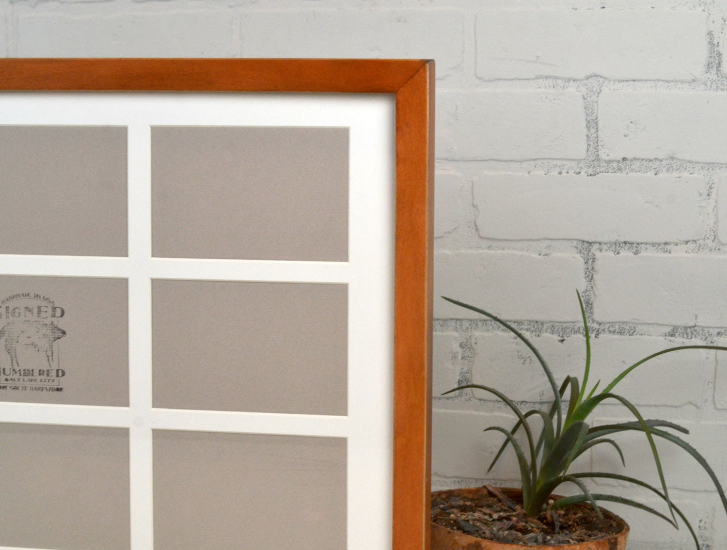 Collage Frame 15x22 1x1 Flat Style With Mat Windows For 9 4x6