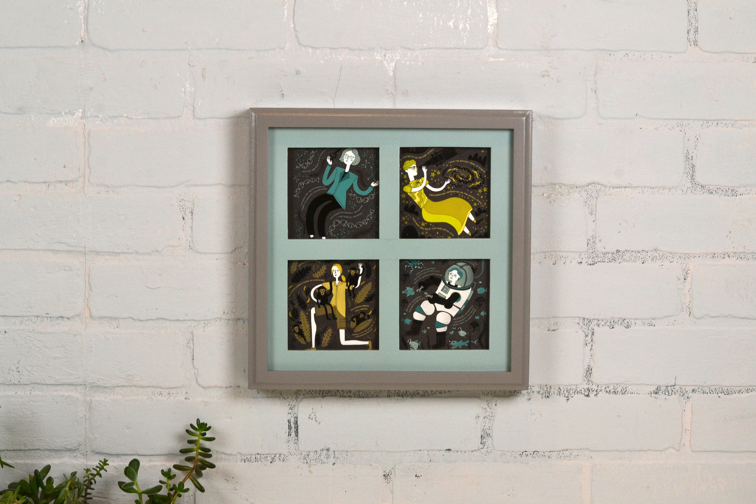 Window Pane Style Multiple Opening Frame for 4 4x4 Photos in