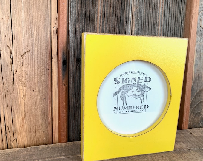 4x4 Pine Circle Opening Picture Frame in Vintage Yellow Finish - IN STOCK - Same Day Shipping - 4 x 4 inch Round Picture Frame