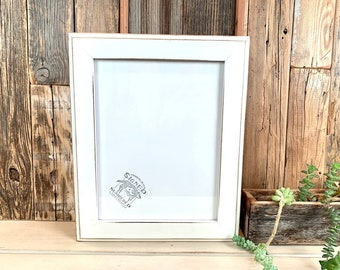 8.5 x 11 Picture Frame - SHIPS TODAY - 1.5 Outside Cove Style with Vintage White Finish - In Stock - 8.5x11 inch Picture Frame