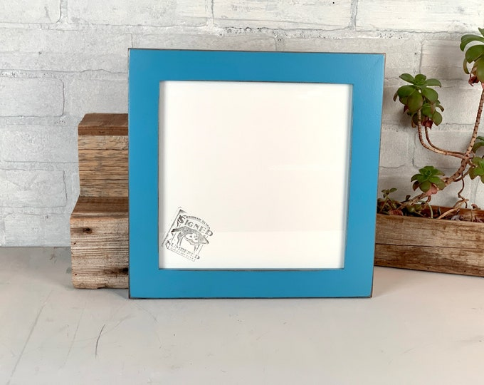 """10x10"""" Picture Frame - SHIPS TODAY - 1.5 Standard Style with Vintage Cobalt Blue Finish - In Stock - 10x10 inch Handmade Blue Frame"""