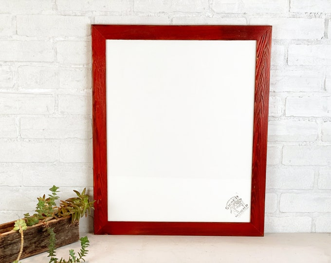"""16x20"""" Picture Frame in 1.5 Reclaimed Cedar with Super Vintage Red Dye Finish - IN STOCK - Same Day Shipping - 16 x 20 inch Photo Frame"""