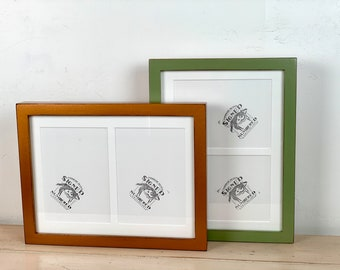 9x12 Picture Frame Mat Windows fit (2) 5x7 Photos in Deep Flat Style and Color of your choice - 9x12 Frame - Collage Frame 5x7