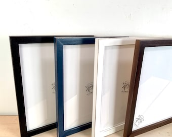 """11x14"""" Picture Frame - BEST SELLER - 1x1 Flat Style with Finish Color of Your Choice - Ships Right Away - Handmade 11 x 14 Solid Hardwood"""