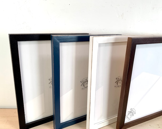 """11x14"""" Picture Frame - SHIPS TODAY - 1x1 Flat Style with Finish Color of Your Choice - In Stock- Handmade 11 x 14 Solid Hardwood"""
