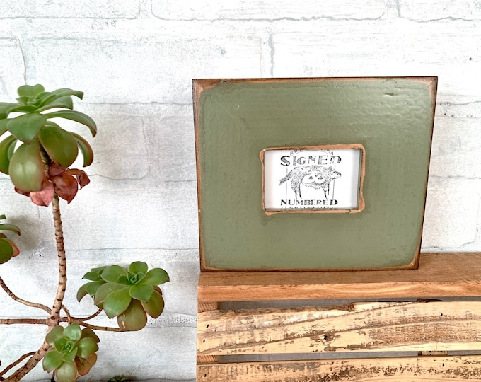 """2.5x3.5"""" Wallet Photo Frame - SHIPS TODAY - 2"""" Roughsawn Redwood with Vintage Old Green Finish - In Stock Wallet Size Frame 2.5 x 3.5"""""""
