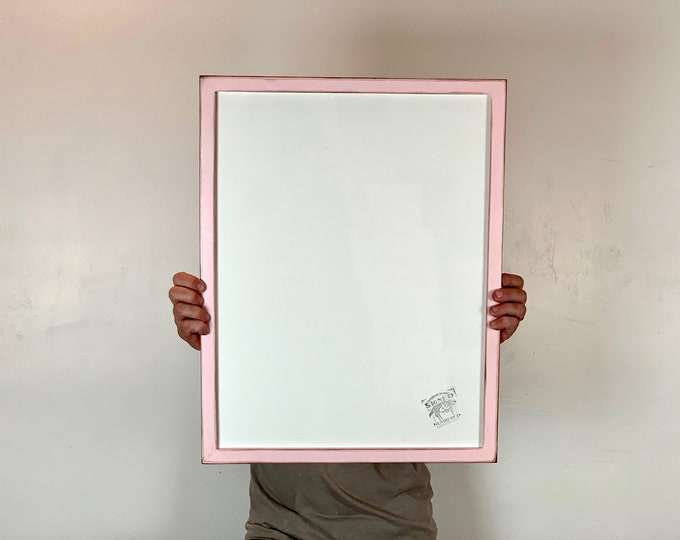 """17.75 x 23"""" Picture Frame - SHIPS TODAY - 1x1 Flat Style with Super Vintage Baby Pink Finish - In Stock - Odd Size Photo Frame 17.75x23 inch"""