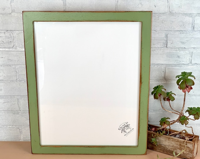 """16x20"""" Picture Frame in 1.5 Reclaimed Cedar with Vintage Guacamole Green Finish - IN STOCK - Same Day Shipping - 16 x 20 inch Photo Frame"""