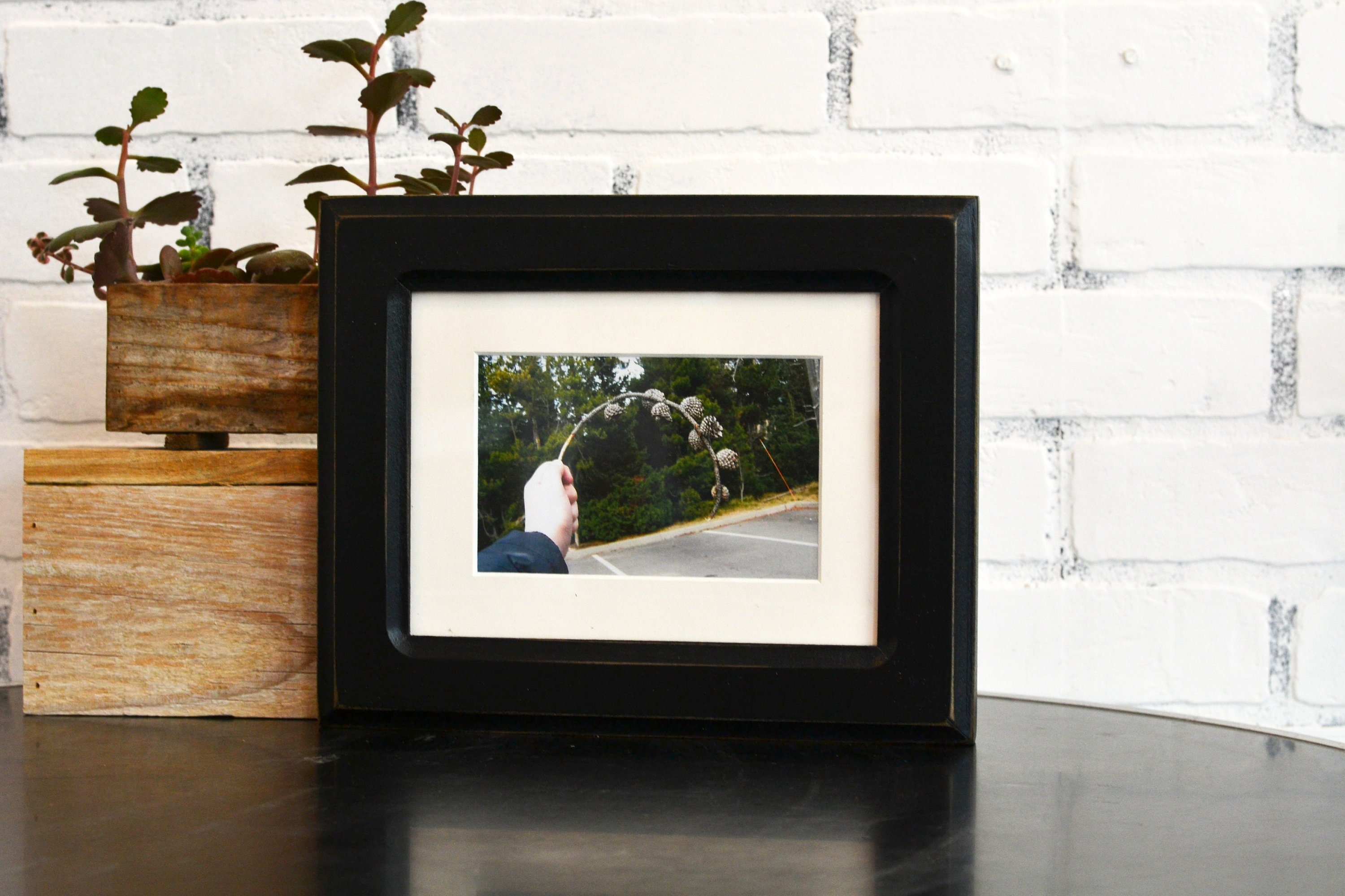6x8 Picture Frame In Wide Double Cove Style With Vintage Black