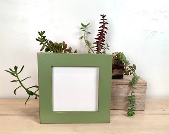 """6x6"""" Square Frame in 1.5 Standard style with Vintage Guacamole Green Finish - IN STOCK - Same Day Shipping - Rustic 6 x 6 Photo Frame"""