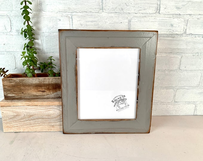 """8x10 Picture Frame - SHIPS TODAY- 2"""" Roughsawn Reclaimed Cedar with Super Vintage Grey Finish - 8 x 10 Rustic Frames Upcycled Decor Gray"""