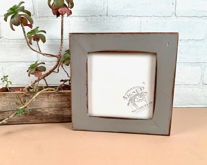 """6x6"""" Picture Frame - SHIPS TODAY - 1.5"""" Wide Reclaimed Cedar with Super Vintage Grey - In Stock - 6 x 6 Upcycled Picture Frame Gray"""