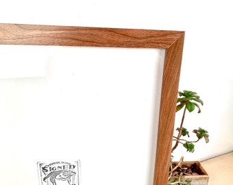 Natural CHERRY Picture Frame in 1x1 Flat style- Choose Size: 2x2 up to 18x24  - solid hardwood, simple, modern, minimal