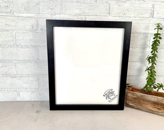 """11x13"""" Picture Frame - SHIPS TODAY - 1x1 Flat Style with Solid Black Finish - In Stock - Handmade 11 x 13 inch Frame Modern Black"""