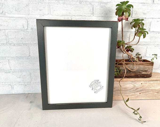 10.5 x 13 Picture Frame - SHIPS TODAY - 1x1 Flat Style with Vintage Sable Gray Finish - In Stock - 10.5x13 inch Picture Frame Hardwood