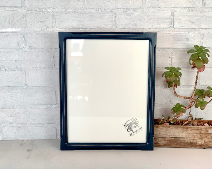 """11x14"""" Picture Frame - SHIPS TODAY - 1x1 Shallow Bones Style with Vintage Navy Blue Finish - In Stock - Handmade 11 x 14 Frame"""