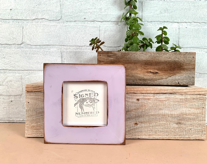 4x4 Reclaimed Wood Frame - SHIPS TODAY - Super Vintage Lilac Purple Finish - In Stock - Square 4 x 4 Cedar Picture Frame Upcycled Wood