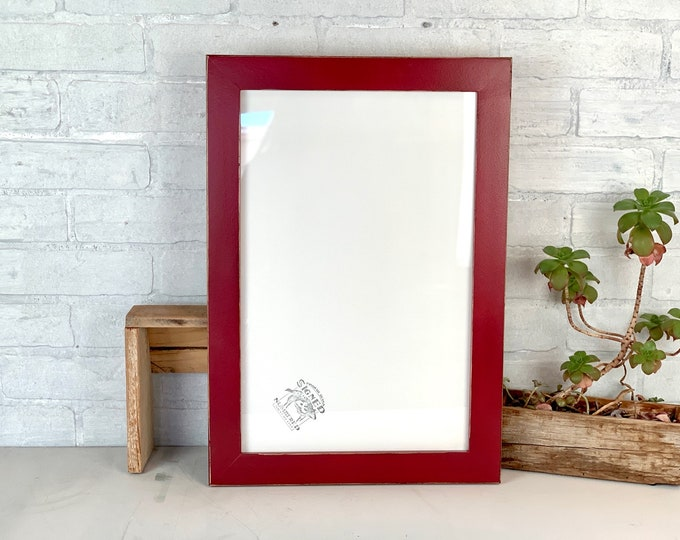 """11x17 Picture Frame - SHIPS TODAY - 1.5 Standard Style with Vintage Wine Finish - Handmade 11 x 17"""" Red Photo Frame - In Stock"""