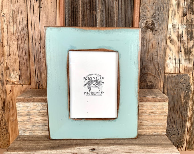 """5x7"""" Picture Frame - SHIPS TODAY - 2"""" Reclaimed Cedar with Super Vintage Homestead Green Finish - In Stock - 5 x 7 Photo Frame"""