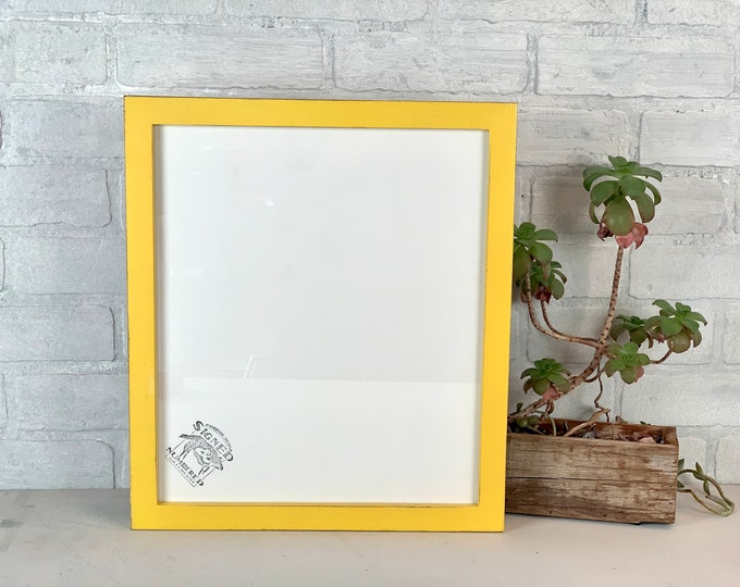 12x14 Picture Frame - SHIPS TODAY - 1x1 Flat Style with Vintage Yellow Finish - 12x14 Photo Print Frame - In Stock Yellow Room Decor