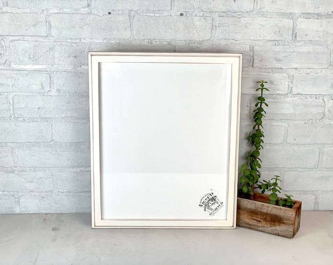 13x16 Picture Frame - SHIPS TODAY - 1x1 Outside Cove Style with Vintage White Finish 13 x 16 Frame - includes plexiglass - In Stock