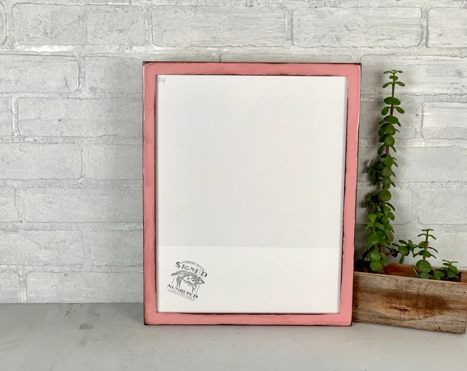 """11x14"""" Picture Frame - SHIPS TODAY - Solid Walnut Peewee Style with Super Vintage Rose Finish - In Stock - Handmade 11 x 14 Hardwood Pink"""