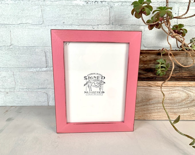 """6x8"""" Picture Frame - SHIPS TODAY - 1x1 Flat Style with Vintage Pink Finish - In Stock - 6 x 8 Picture Frames Pink"""