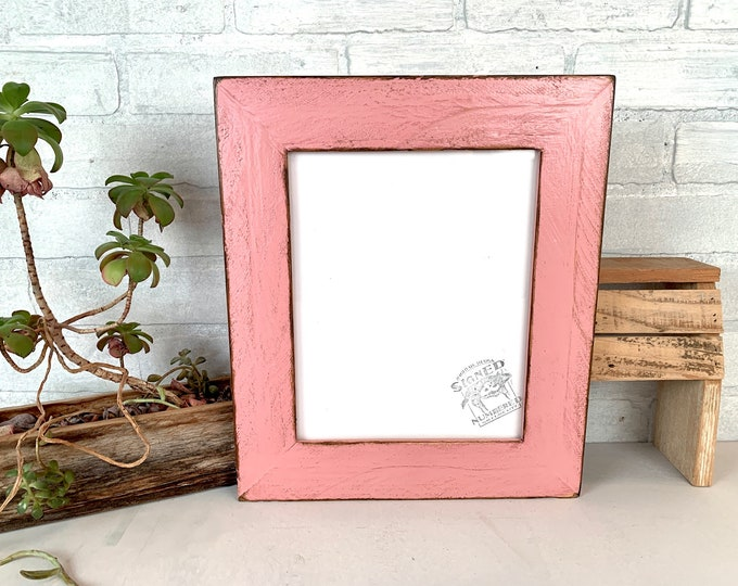 """8x10 Picture Frame - SHIPS TODAY- 2"""" Roughsawn Reclaimed Cedar with Super Vintage Rose Pink Finish - 8 x 10 Rustic Frames Upcycled Decor"""