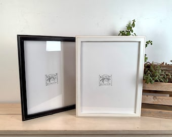 """11x14"""" Picture Frame - BEST SELLER - 1x1 Outside Cove Style with Vintage Black or White Finish - Ships Right Away - Handmade 11 x 14 Frame"""