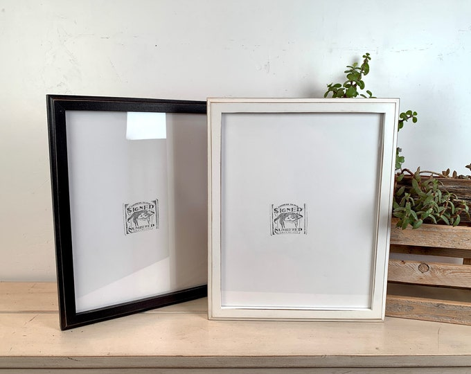 """11x14"""" Picture Frame - BEST SELLER - 1x1 Outside Cove Style with Vintage Black or White Finish - In Stock - Handmade 11 x 14 Frame"""