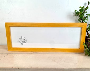"""6x18"""" Panoramic Frame - SHIPS TODAY - 1x1 Flat Style with Solid Honey Dye Finish on Poplar - In Stock - Handmade 6 x 18 inch Picture Frame"""