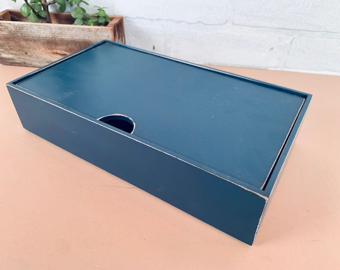 Keepsake Box with Lid - SHIPS TODAY - Handmade Solid Wood Desktop Box with Vintage Navy Blue Finish - gift, storage, organizer - In Stock