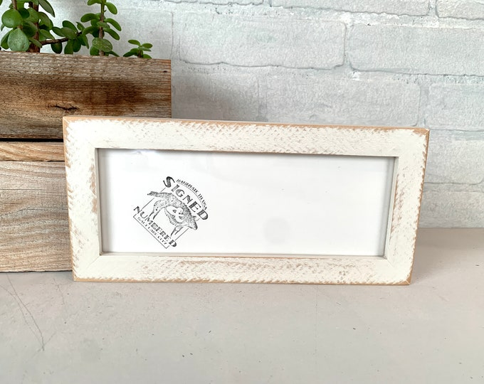 """4x10"""" Panoramic Picture Frame - SHIPS TODAY - 1x1 Flat Style with Roughsawn White Wash Finish - In Stock - 4 x 10 inch Photo Frame"""