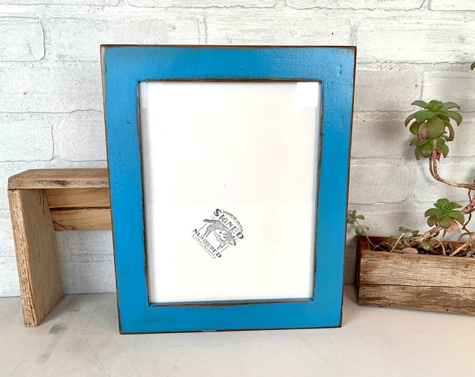 8.5x11 Picture Frame - SHIPS TODAY - 1.5 Reclaimed Cedar with Super Vintage Cobalt Blue Finish - In Stock 8.5 x 11 Upcycled Wood Photo Frame