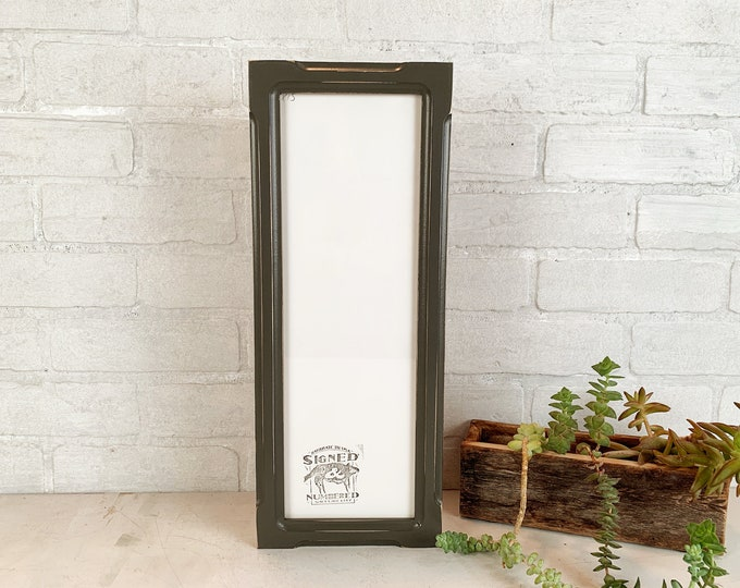 """5x15"""" Picture Frame - SHIPS TODAY - 1x1 Shallow Bones Style with Vintage Sable Gray Finish - In Stock - 15 x 5 Panoramic Photo Frame"""