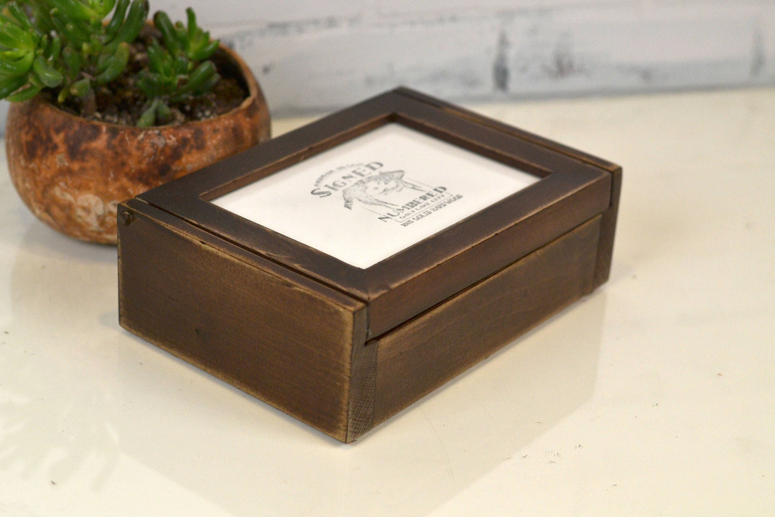 Wooden Keepsake Box With 5x7 Picture Frame Lid In Super Vintage Dark