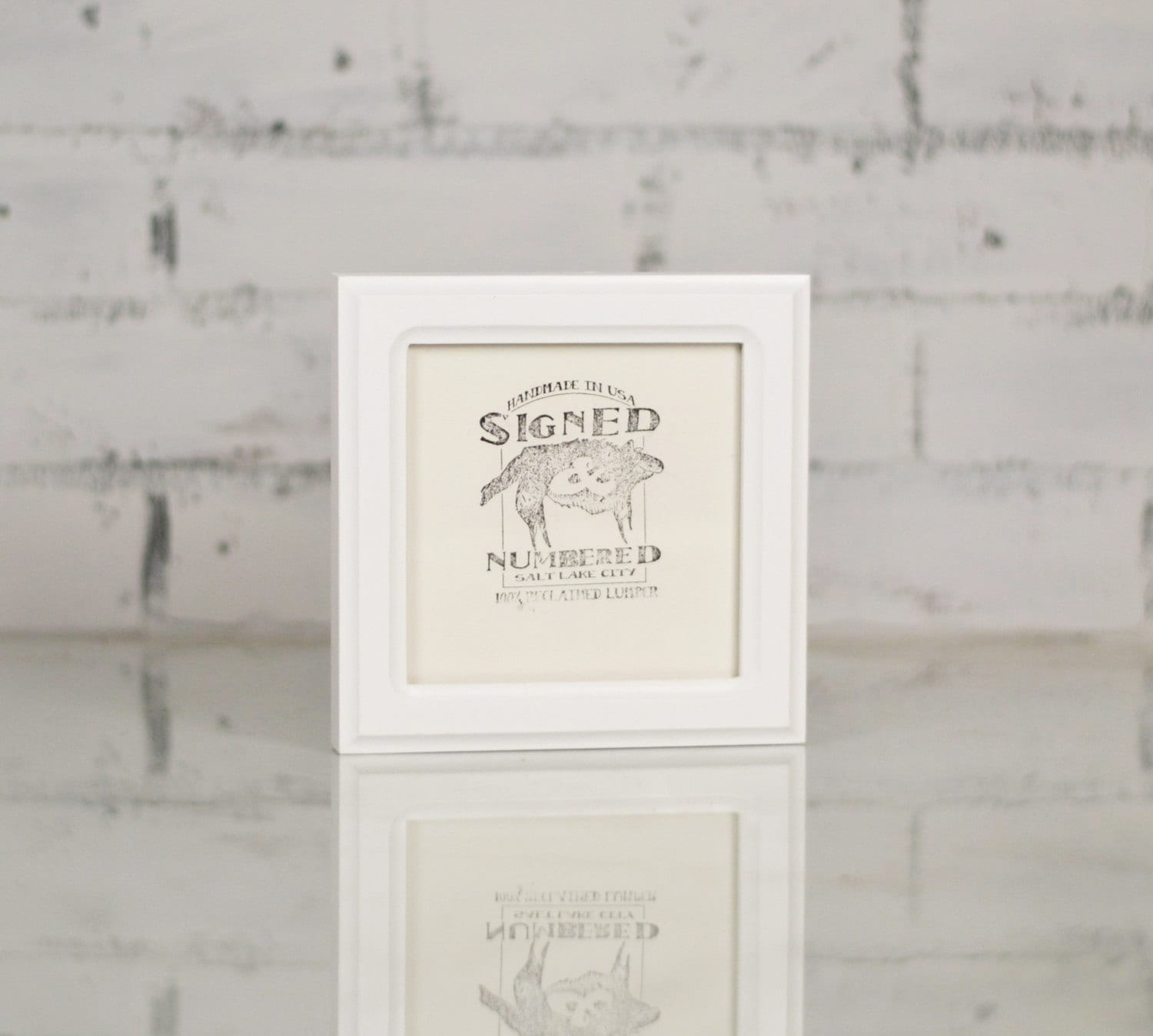 5x5 Square Picture Frame in Double Cove Style with Solid White ...