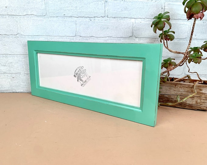 """5x15"""" Picture Frame - SHIPS TODAY - 1.5 Inside Cove Style with Vintage Robin's Egg Finish - In Stock - 15 x 5 Panoramic Photo Frame"""