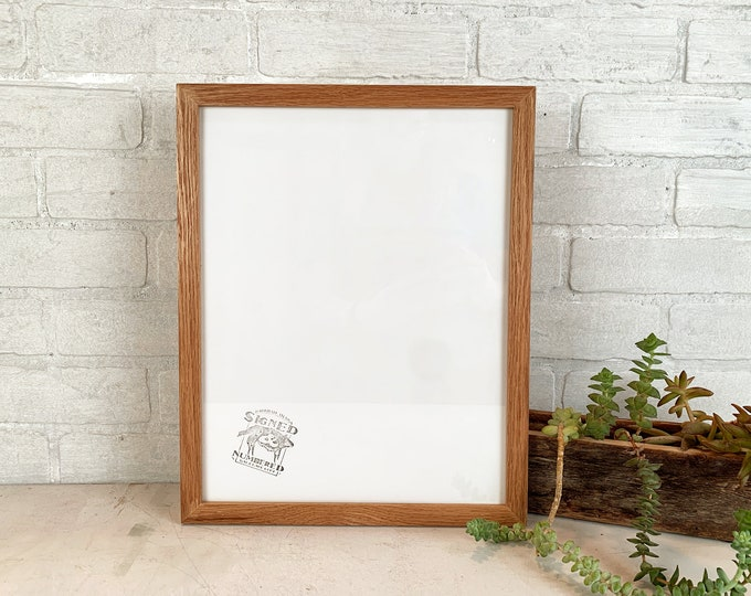 """11x14"""" Picture Frame - SHIPS TODAY - Solid Natural Red Oak Peewee Style - In Stock - Handmade 11 x 14 Solid Hardwood"""