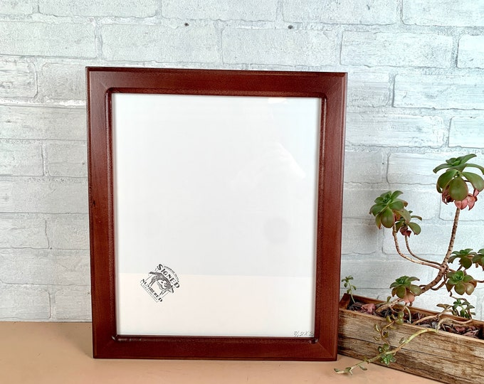 13 x 15.5 Picture Frame - SHIPS TODAY - 1.5 Double Cove Style with Solid Mahogany Dye Finish - In Stock - Odd Size 13x15.5 inch Frame
