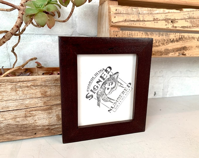 """3.25 x 4"""" Wallet Photo Picture Frame - SHIPS TODAY - Peewee Style with Solid Dark Wood Tone Finish - In Stock - Odd Size Frame"""